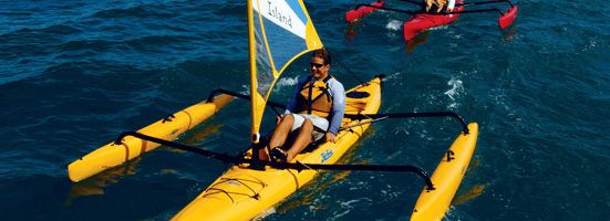 The Hobie Mirage Adventure Island Is A 16 Trimaran Sail Yak That Incorporates Patented MirageDrive Into Unique Sailing Machine Unlike Any